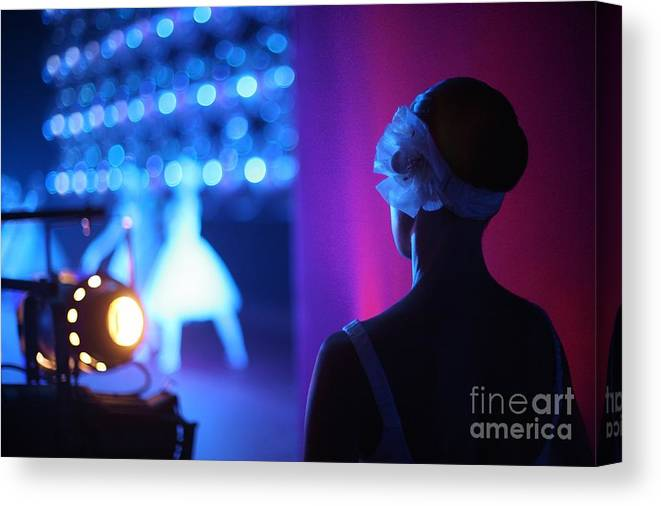 Studio Canvas Print featuring the photograph Ballerina On The Backstage With A View by Anna Jurkovska