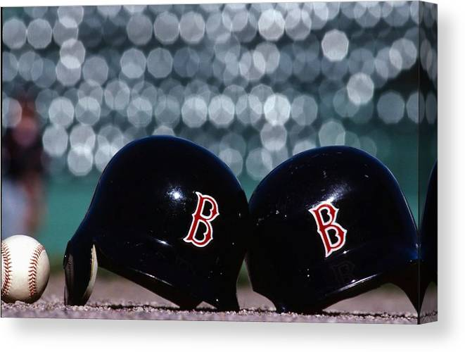 Headwear Canvas Print featuring the photograph Batting Helmets by Ronald C. Modra/sports Imagery