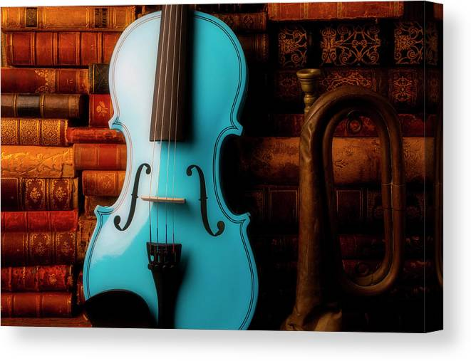 Book Canvas Print featuring the photograph Blue Violin And Old Books by Garry Gay