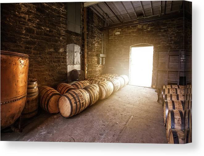 Bourbon Barrels Canvas Print featuring the photograph Bourbon Kettle Room by Karen Varnas