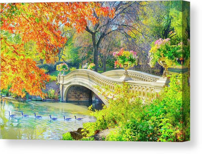 Scenics Canvas Print featuring the photograph Bow Bridge, Central Park, In Autumn by Mitchell Funk