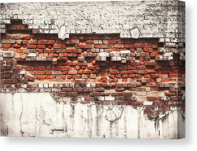 Tranquility Canvas Print featuring the photograph Brick Wall Falling Apart by Ty Alexander Photography