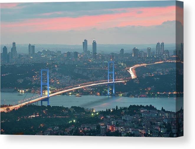 Istanbul Canvas Print featuring the photograph Bridge Over Bosphrous by Salvator Barki