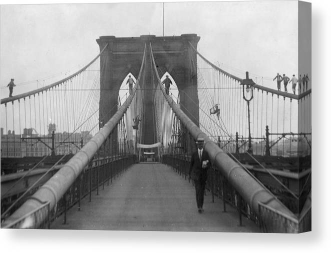 Suspension Bridge Canvas Print featuring the photograph Brooklyn Bridge by Keystone