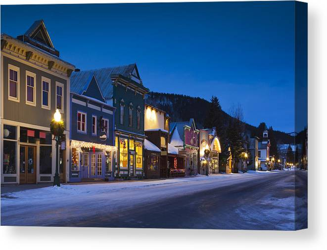 Tranquility Canvas Print featuring the photograph Buildings Along Elk Avenue by Walter Bibikow