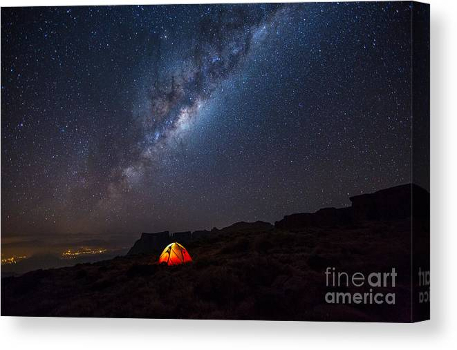 Atmosphere Canvas Print featuring the photograph Camping Under The Stars. The Milky Way by Tcs Photography