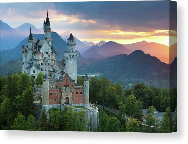 Scenics Canvas Print featuring the photograph Castle Neuschwanstein With A Dramatic by Ingmar Wesemann