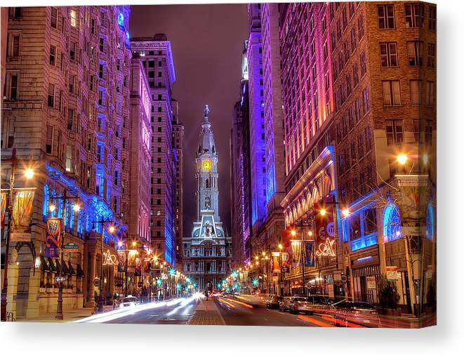 Land Vehicle Canvas Print featuring the photograph Center City Philadelphia by Eric Bowers Photo
