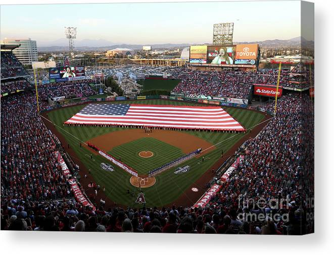 American League Baseball Canvas Print featuring the photograph Chicago Cubs V Los Angeles Angels Of by Sean M. Haffey