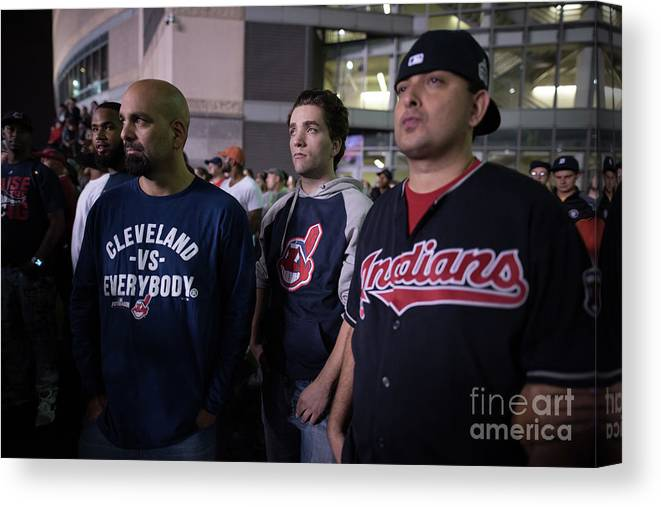 Facial Expression Canvas Print featuring the photograph Cleveland Indians Fans Gather To The by Justin Merriman