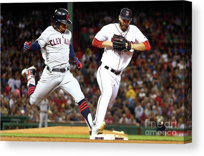 People Canvas Print featuring the photograph Cleveland Indians V Boston Red Sox by Adam Glanzman