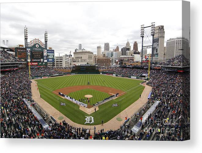 American League Baseball Canvas Print featuring the photograph Cleveland Indians V Detroit Tigers by Gregory Shamus