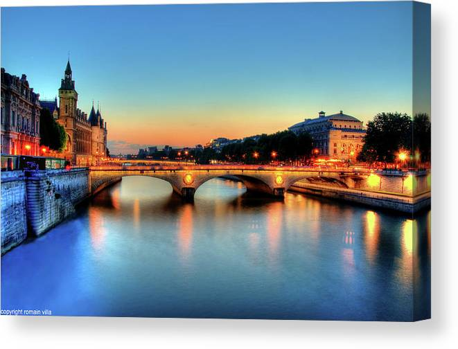 Clear Sky Canvas Print featuring the photograph Connecting Bridge by Romain Villa Photographe