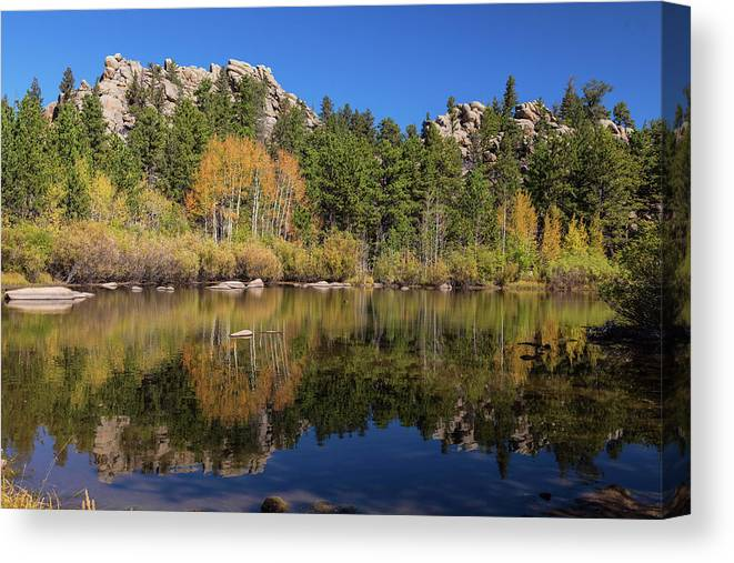 Red Feather Canvas Print featuring the photograph Cool Calm Rocky Mountains Autumn Reflections by James BO Insogna