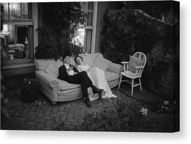 Debutante Canvas Print featuring the photograph Couple At Party by Thurston Hopkins