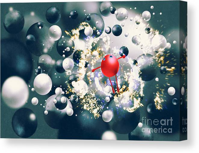 Sparkler Canvas Print featuring the digital art Cute Red Ball Raising Arms Amongst by Tithi Luadthong