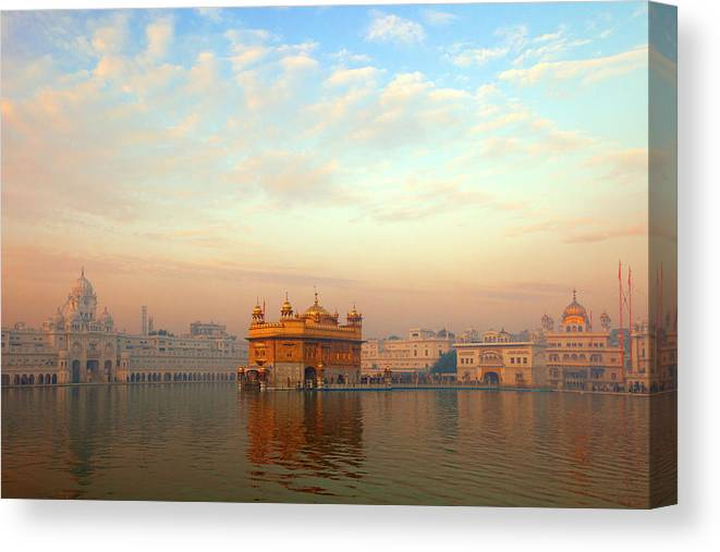 Dawn Canvas Print featuring the photograph Dawn At The Golden Temple, Amritsar by Adrian Pope