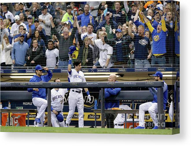 People Canvas Print featuring the photograph Detroit Tigers V Milwaukee Brewers by Dylan Buell