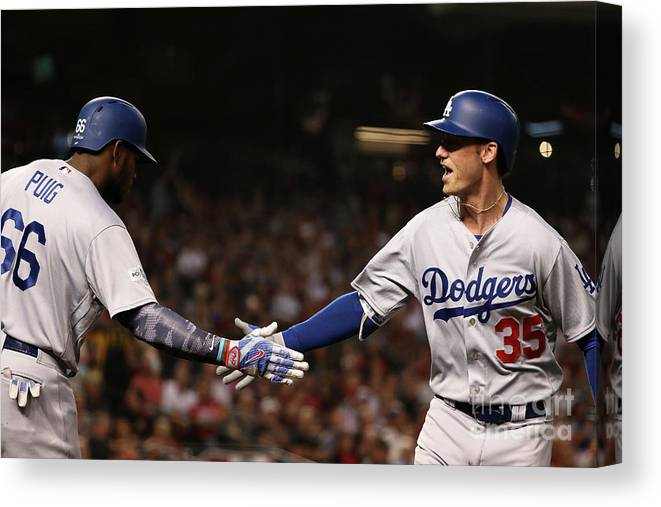 Three Quarter Length Canvas Print featuring the photograph Divisional Series - Los Angeles Dodgers by Christian Petersen