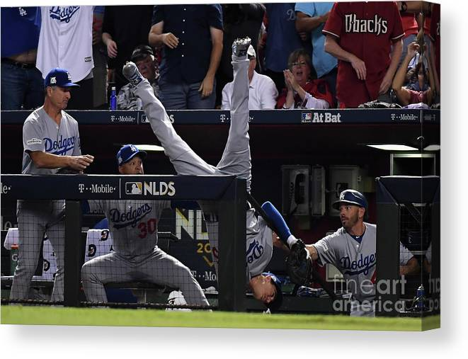 People Canvas Print featuring the photograph Divisional Series - Los Angeles Dodgers by Norm Hall