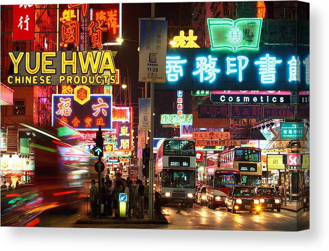 Chinese Culture Canvas Print featuring the photograph Hong Kong, Kowloon, Temple Street by Walter Bibikow