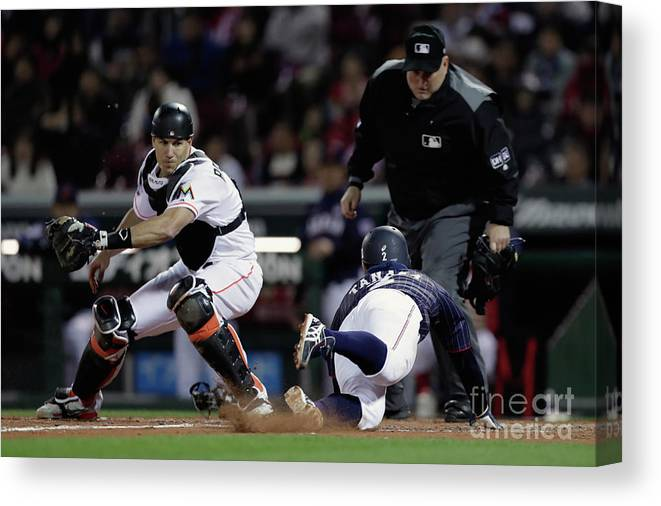 Kohsuke Tanaka Canvas Print featuring the photograph Japan V Mlb All Stars - Game 4 by Kiyoshi Ota