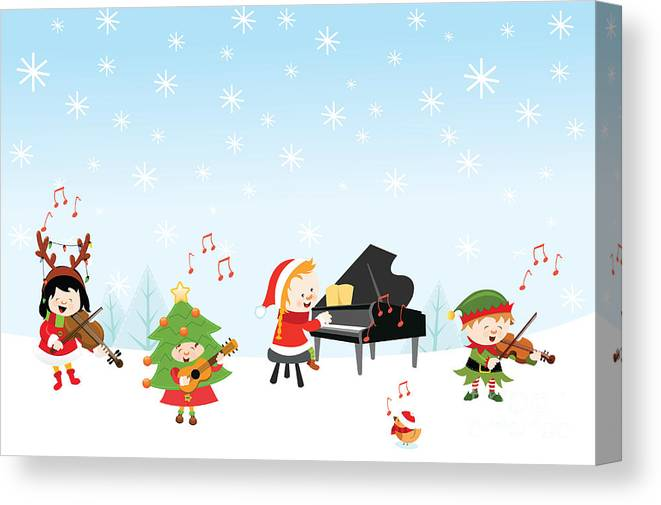 Gift Canvas Print featuring the digital art Kids Playing Christmas Songs by Pinar Ince