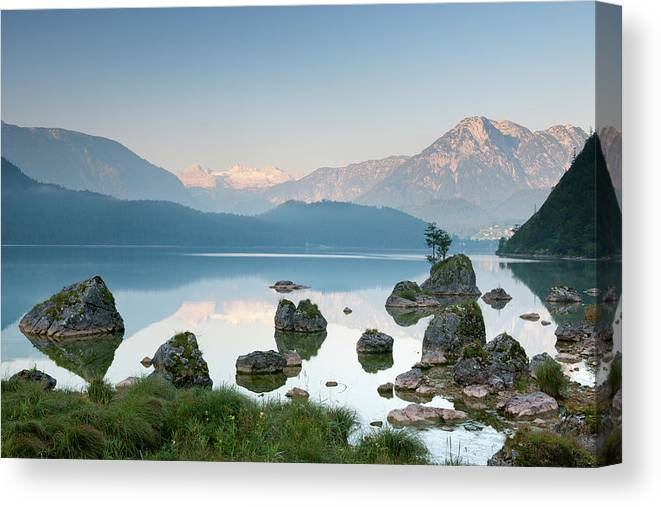 Scenics Canvas Print featuring the photograph Lake Altaussee With Glacier Dachstein by 4fr