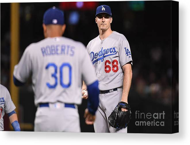 Ross Stripling Canvas Print featuring the photograph Los Angeles Dodgers V Arizona by Jennifer Stewart
