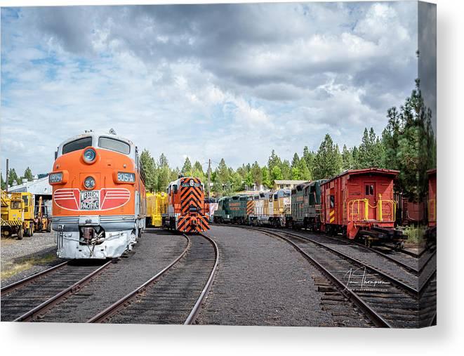 Caklifornia Canvas Print featuring the photograph Lotsa Locomotives by Jim Thompson