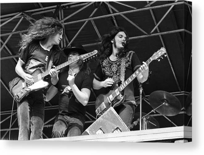 Music Canvas Print featuring the photograph Lynyrd Skynyrd Performs Live by Richard Mccaffrey