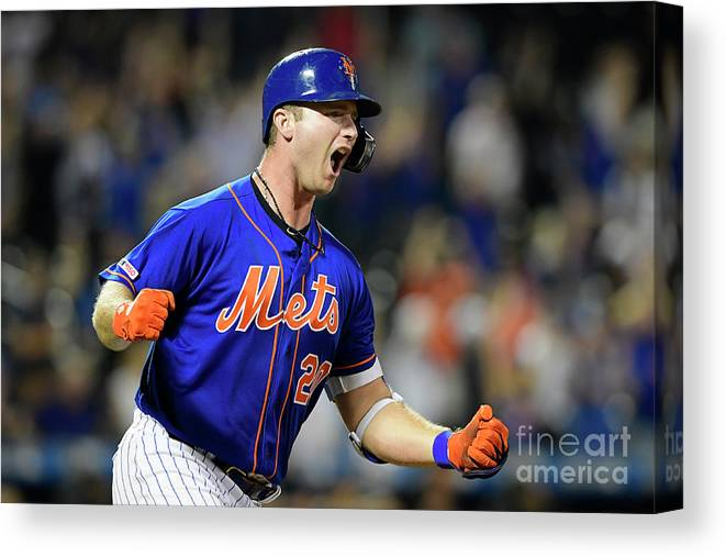 Three Quarter Length Canvas Print featuring the photograph Miami Marlins V New York Mets - Game Two by Steven Ryan