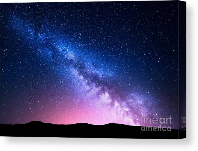Nocturnal Canvas Print featuring the photograph Milky Way And Pink Light At Mountains by Denis Belitsky