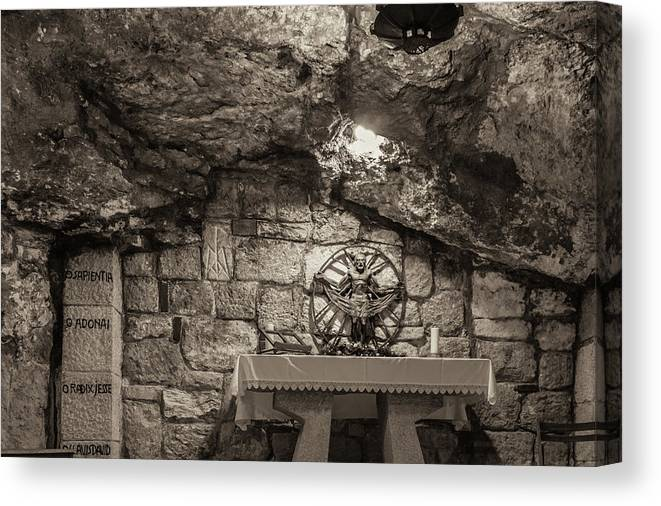 Ancient Canvas Print featuring the photograph Nativity Cave by Sean O'Cairde