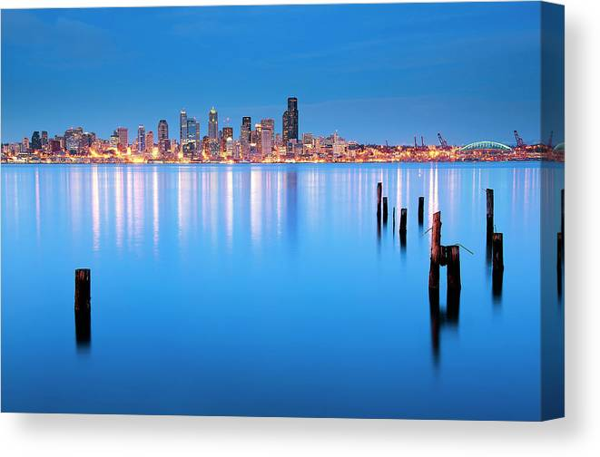 Clear Sky Canvas Print featuring the photograph Neon City by Aaron Eakin