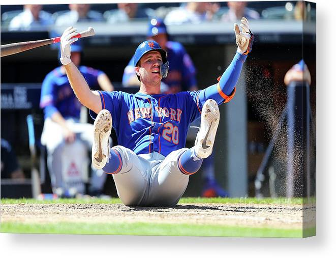 People Canvas Print featuring the photograph New York Mets V New York Yankees - Game by Mike Stobe