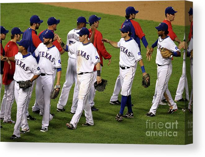 Playoffs Canvas Print featuring the photograph New York Yankees V Texas Rangers, Game 2 by Ronald Martinez