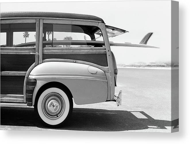 1950-1959 Canvas Print featuring the photograph Old Woodie Station Wagon With Surfboard by Skodonnell
