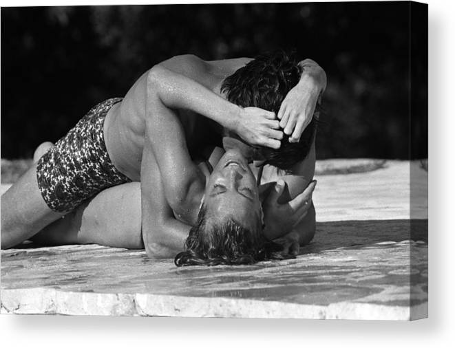 Alain Delon Canvas Print featuring the photograph On The Set Of The Movie The Swimming by Jean-pierre Bonnotte