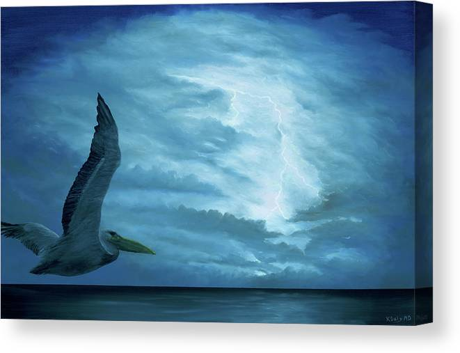Bird Canvas Print featuring the painting Out Of The Blue by Kevin Daly