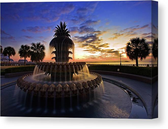 Tranquility Canvas Print featuring the photograph Pineapple Fountain In Charleston by Sam Antonio Photography