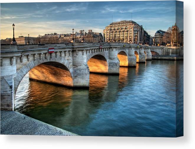 Ile-de-france Canvas Print featuring the photograph Pont-neuf And Samaritaine, Paris, France by Romain Villa Photographe