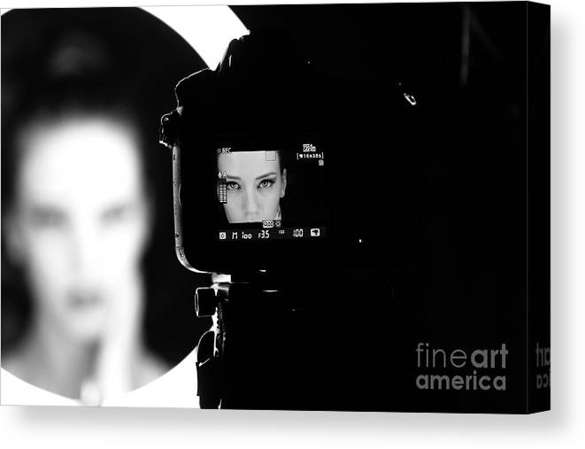 Studio Canvas Print featuring the photograph Portrait Of A Beautiful Girl Through by Alex Andrei