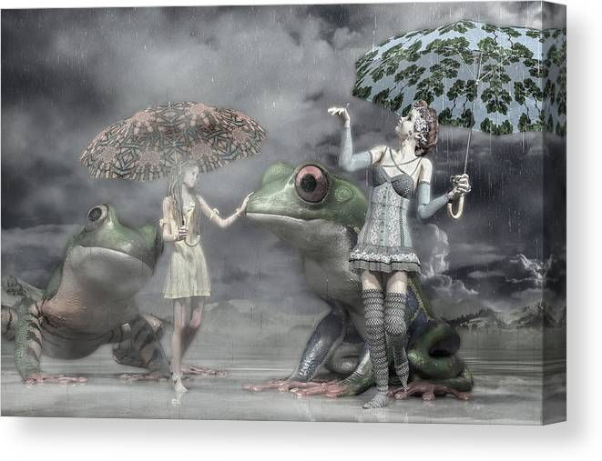 Frog Canvas Print featuring the digital art Rainy Day Daydream by Betsy Knapp