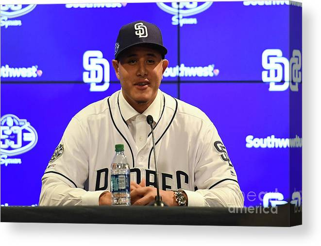 Peoria Sports Complex Canvas Print featuring the photograph San Diego Padres Introduce Manny Machado by Jennifer Stewart