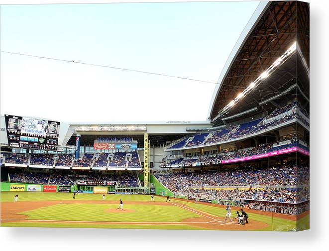 American League Baseball Canvas Print featuring the photograph San Diego Padres V Miami Marlins by Marc Serota