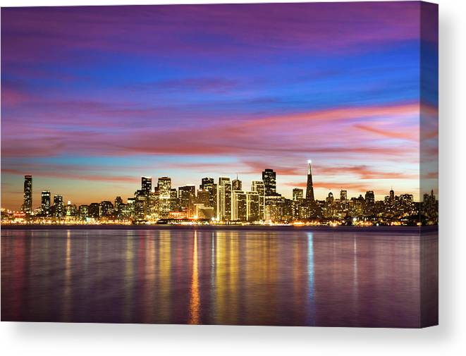San Francisco Canvas Print featuring the photograph San Francisco Sunset by Photo By Alex Zyuzikov