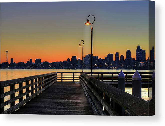 Scenics Canvas Print featuring the photograph Seattle Skyline From The Alki Beach by David Gn Photography