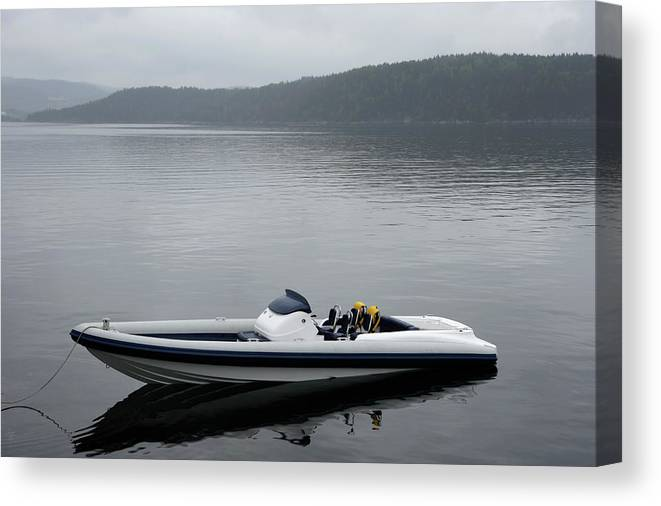 Outdoors Canvas Print featuring the photograph Speedboat, Side View by Vegar Abelsnes Photography