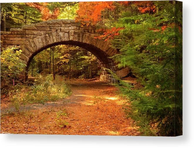 Scenics Canvas Print featuring the photograph Stone Bridge, Part Of Carriage Roads by Danita Delimont